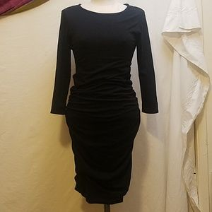 JAMES PERSE Black Long Sleeve Ruched Sided Dress
